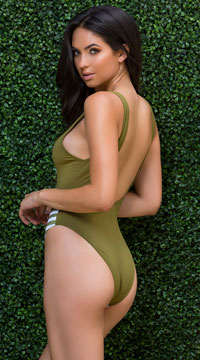 Yandy Blooming Olive One Piece Swimsuit - Olive