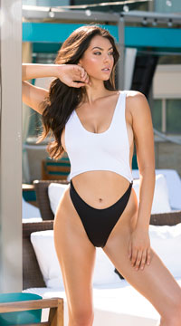 Yandy Modern Beauty One Piece Swimsuit - White/Black