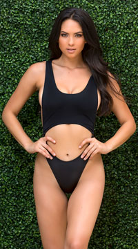 Yandy Modern Beauty One Piece Swimsuit - Black