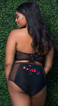 Plus Size Yandy High Waisted Tropical Getaway Bikini Bottom - Black