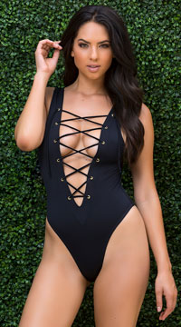 Yandy Laced One Piece Swimsuit - Black
