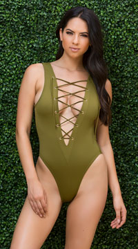 Yandy Laced One Piece Swimsuit - Green