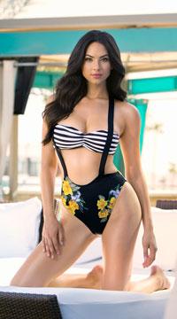Yandy Golden Rose Suspender Bikini - Black