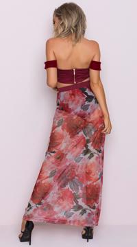 Yandy Burgundy Beauty Skirt Set