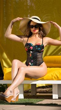 Yandy Tropical Dreams Striped One Piece Swimsuit - Black