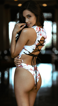 Yandy Laced Cherry Blossom One Piece Swimsuit - White