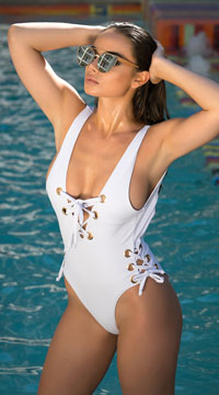 Yandy Sleek Stunner One Piece Swimsuit - White