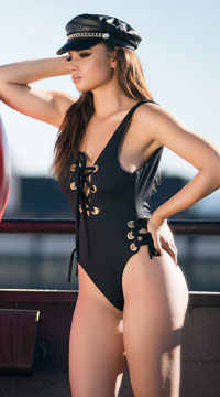 Yandy Sleek Stunner One Piece Swimsuit - Black