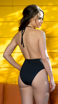 Yandy Romantic Kitten One Piece Swimsuit - Black/Nude