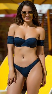 Yandy Vintage Starlet Bikini Bottom - Navy
