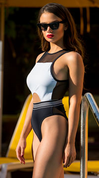 Yandy Sunkissed Perfection One Piece Swimsuit - Black/White