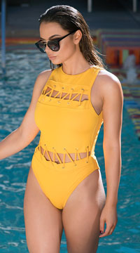 Yandy Modern Paradise One Piece Swimsuit - Mustard