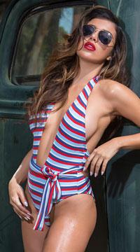 Yandy Beach Mistress One Piece Swimsuit - Red/White/Blue