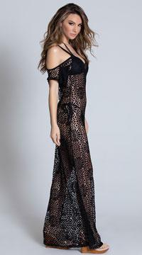 Yandy Daisy Crochet Cover-Up Dress - Black