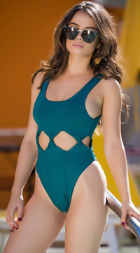 Yandy Twisted Vision One Piece Swimsuit - Hunter Green