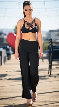 Yandy Criss-Cross Cover-Up Pants - Black