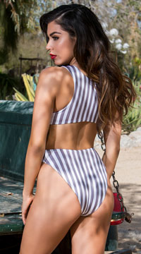 Yandy's The Sarah One Piece Swimsuit - White/Grey