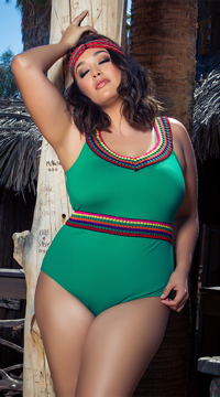 Yandy Plus Size Cozumel One Piece Swimsuit - Green