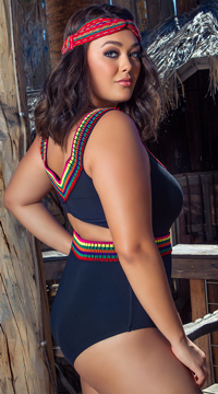 Yandy Plus Size Cozumel One Piece Swimsuit - Black