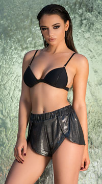 Yandy Shimmering Cover-Up Dolphin Shorts - Black
