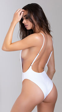 Yandy Red White and Booze One Piece Swimsuit - White
