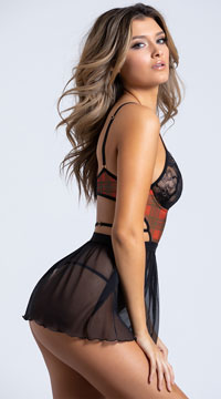 46a39ff29d50b ... Yandy Penetrating Plaid Lace Babydoll Set - Black Plaid ...