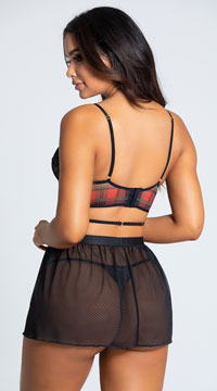 Yandy Penetrating Plaid Lace Babydoll Set - Black/Plaid