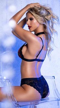Yandy Penetrating Plaid Lustful Bra Set - Black/Plaid