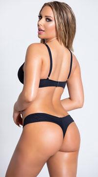 Yandy Morganite Glow Peek-A-Boo Bikini Bottom - Black