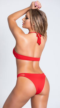 Yandy Jasper Luster Bikini Bottom - Red