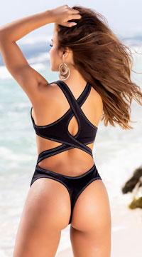 Yandy Spice Island Monokini Swimsuit - Black/White
