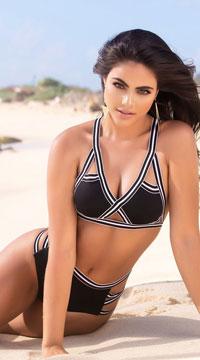 eeddc5a396 ... Yandy Lily Beach High Waisted Bikini Bottom - Black White ...