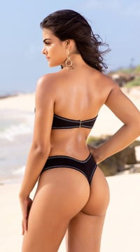 20b8ff1ec8485 Yandy Trident Hotel Thong Bikini Bottom, Black Basic Thong Swimsuit ...