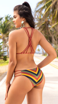 Yandy Funk Fever Monokini - Stripes Print
