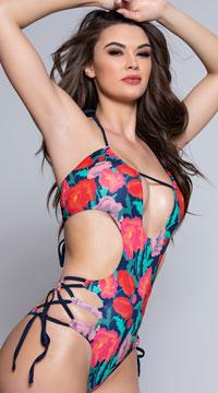 Yandy Jasmine Strappy Monokini - Flower Print