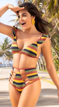 Yandy Pop Hits High Waisted Bikini - as shown