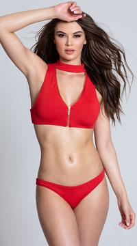 Yandy Zirconia Zest Choker Bikini Bottom - Red