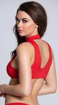 Yandy Zirconia Zest Choker Bikini Top - Red