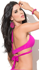 Yandy Totally Strapped Bikini Top - Hot Pink