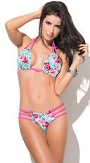 Yandy Strappy Floral Print Bikini - as shown