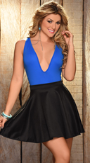 Deep Cleavage Bodysuit and Flared Mini Skirt - as shown