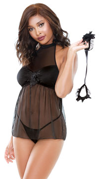 Belladonna Shades of Babe Babydoll Set - Black