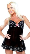 Polka Dot and Mesh Babydoll - Black