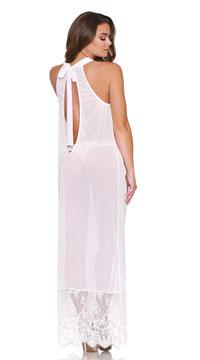Layla Halter Neck Gown Set - White