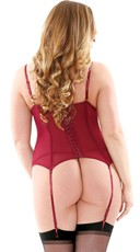 Plus Size Metallic Love Bustier Set - Burgundy