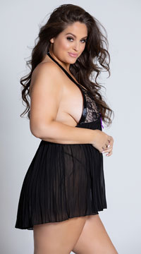Plus Size Pleated Halter Babydoll with G-String - Black