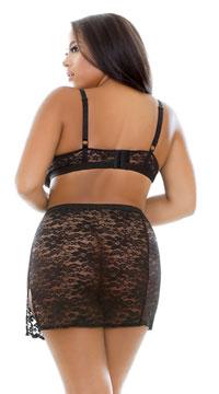 Plus Size Kara Lace Bralette Set - Black