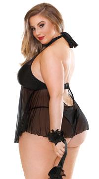 Plus Size Belladonna Shades of Babe Babydoll Set - Black