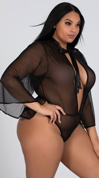Plus Size Celine Bad To The Bow Bodysuit - Black