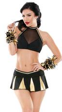 Crowd Pleaser Cheerleader Lingerie Costume - Black/Gold